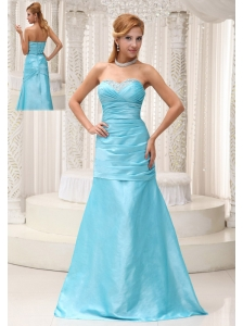 Ruched and Beading Decorate Bust A-line Aqua Blue Mother Of The Bride Dress in Michigan