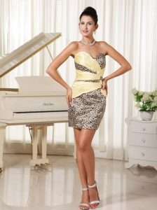Simple Sweetheart Mini-length Prom / Cocktail Dress With Leopard Harker Heights