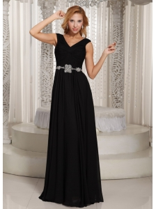 Simple V-neck Black Floor-length Belt 2013 Mother Of The Bride Dress For Wedding Party