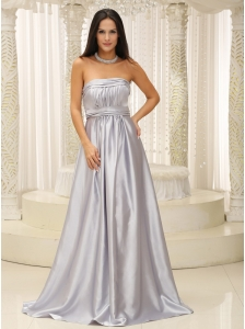 Silver Mother Of The Bride Dress Elegant With Strapless Ruched Bodice For Military Ball