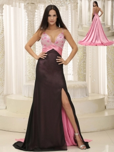 Straps Beaded Decorate Bust Ruch Chiffon and Elastin Woven Satin For 2013 Evening Dress