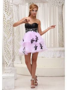 Sweet Custom Made Prom / Cocktail Dress For 2013 Pink Organza With Appliques Mini-length
