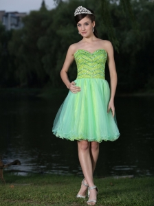 Sweetheart Neckline Beaded Decorate Bodice Green  2013 Prom / Cocktail Dress