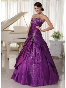 Taffeta and Organza Eggplant Purple A-line Sweetheart Quinceanera Gowns With Appliques and Beading