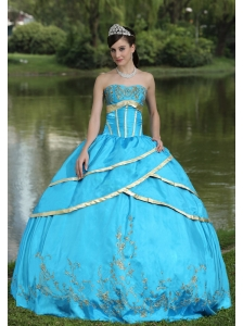 Taffeta and Satin Embroidery Blue 2013 Quinceanera Gowns Designer