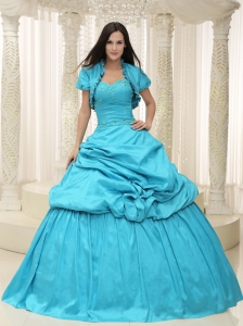 Teal Taffeta Sweetheart Appliques Lace Up For Quinceanera Dress
