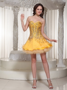 The Brand New Sweetheart Gold Beaded Decorate Prom / Cocktail Dress 2013