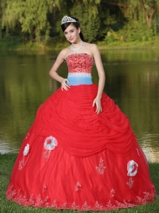 Tulle Strapless Red Quinceanera Dress For Girl With Flower Beaded Decorate