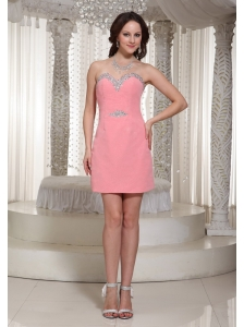 Watermelon Column Sequin Homecoming Dress For Formal With Beaded Decorate