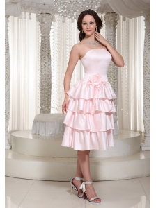 Wholesale Empire Ruffles Layered Homecoming Dress With Tea-length