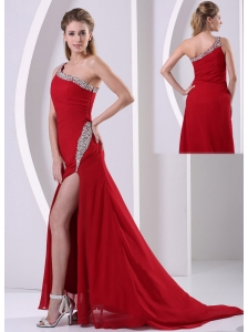 Wine Red High Slit Beaded Decorate One Shoulder and Hip Column Chiffon Prom / Evening Dress For Formal Evening Brush Train