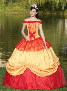 Colorful Off The Shoulder Neckline For Quinceanera Dress With Appliques