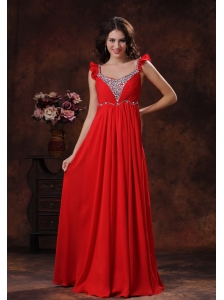 Apache Junction Arizona Beaded Decorate Bust Square Neckline Red Chiffon Prom Dress