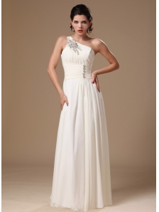 Beaded Decorate One Shoulder White Empire Chiffon 2013 Prom Gowns In Northport Alabama