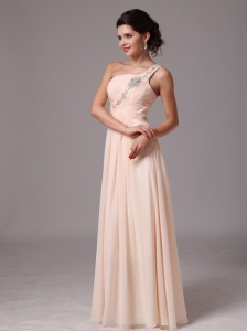 Beaded Decorate Shoulder Champagne Empire Hottest Prom Gowns With One Shoulder In Gulf Shores Alabama