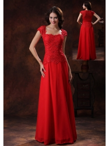 Custom Made Red Square Neckline Prom Dress With  Lace Over Bodice In Flagstaff Arizona