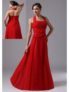 Halter and Ruched Bodice For 2013 Red Prom Dress In Borrego Springs California With Hand Made Flowers