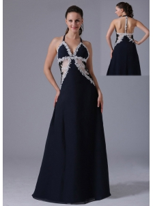 Halter Apliques Decorate Bust Navy Blue Prom Dress With Floor-length In Bethel Connecticut