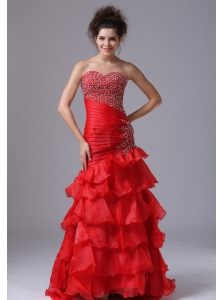 Red Party Sexy Prom Dress Mermaid Sweetheart Organza Floor-length