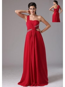 Stylish Red One Shoulder Beading and Ruch 2013 Prom Dress In Naugatuck Connecticut