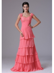 2013 Watermelon Ruffled Layers Square Column Stylish Prom Dress With Appliques In Brookfield Connecticut