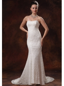 2013 Wedding Dress For Custom Made Lace Mermaid Brush Train In Albany Georgia