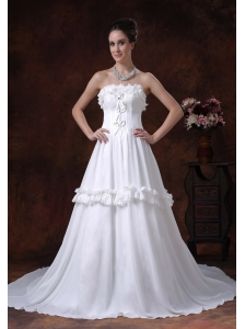 A-Line Chiffon Strapless Chapel Train Romantic Low Cost Wedding Dress Ruffles
