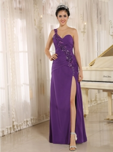 Addison Alaska High Slit Purple Prom Dress With Sequins Decorate Shoulder