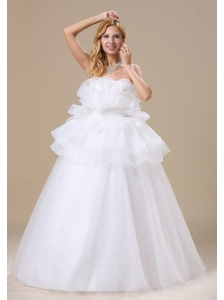 Appliques Decorate Bust Strapless Floor-length Organza Exclusive Style 2013 Wedding Dress