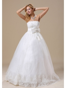 Appliques With Beading A-line Bowknot Strapless Floor-length 2013 Wedding Dress