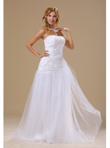 Appliques With Beading Decorate Bodice Tulle Strapless Brush Train 2013 Beach Wedding Dress