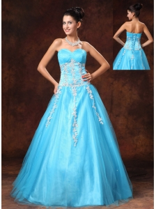 Baby Blue Sweetheart A-line Appliques Graduation Custom Made Prom Gowns