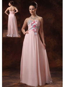 Baby Pink Beaded Decorate Sweetheart and Hand Made Flowers Prom Dress For Prom Party In Covington Georgia