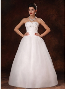 Beaded A-Line Sweetheart Designer Organza New Style 2013 Wedding Dress For Customize