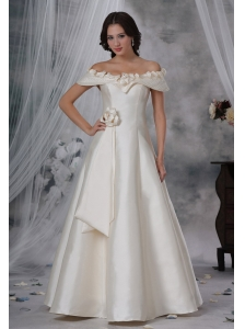 Beaded Decorate Off The Shoulder Hand Made Flower A-line Floor-length Wedding Dress For 2013