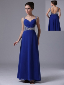 Beaded Decorate Shoulder Straps Chiffon Royal Blue maxi Prom Dress