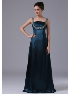 Beaded Decorate Shoulder Straps Taffeta Navy Blue Floor-length Prom Dress