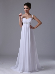 Beaded Decorate Waist Empire Straps Beach Wedding Dress Chiffon In Auburn Hills Michigan