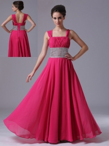 Beaded Decorate Waist Coral Red Straps Column Prom Dress Ruched Lace-up