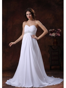 Beaded Decorate Waist White Sweetheart Wedding Dress With Brush Train In Sun City West Arizona