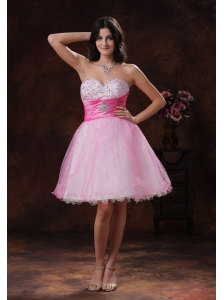 Beadeded Decorate Multi-color Organza Sweetheart A-line Short Prom Dress In Scottsdale Arizona