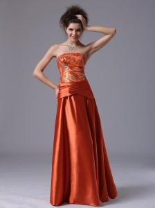 Beading Strapless Column Taffeta Floor-length Prom Dress Rust Red