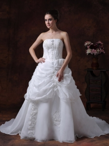 Beading Strapless Stylish Organza Customize Court Train Wedding Dress