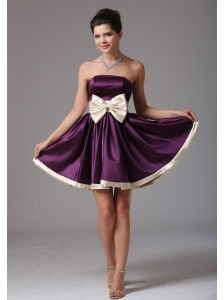 Beautiful Dark Purple Strapless Prom Dress With Sash Mini-length In Florida