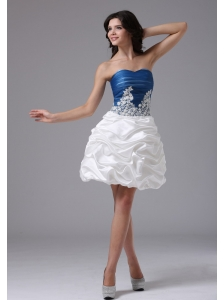 Blue and White With Appliques and Pick-ups For Short Prom Dress In Alameda California