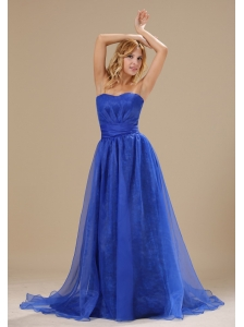 Brookhaven Blue Organza Strapless Brush Train Column Simple Style 2013 Plus Size Prom / Evening dress