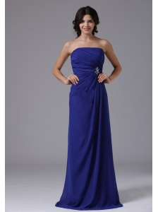 Calistoga California City For Prom Dress With Ruch Beading Strapless and Peacock Blue
