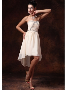 Champagne Empire Asymmetrical Sweetheart Chiffon 2013 Prom Gowns For Custom Made