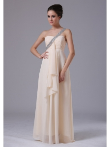 Champagne One Shoulder Empire Chiffon Prom Dress Ruffles