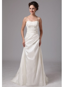 Clasp Handle Spaghetti Straps Brush Train Wedding Dress With Beading and Ruch For Custom Made